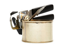 Tin and can opener Royalty Free Stock Photography