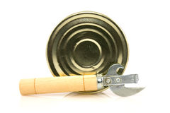 Tin can with opener Royalty Free Stock Photography