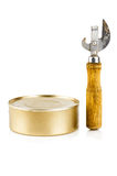 Tin can opener and can with food Royalty Free Stock Image