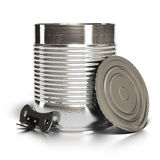 Tin can and opener over white Stock Photography