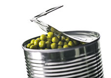 Tin can with peas Stock Photos
