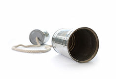 Tin can phone. On a white background Royalty Free Stock Images