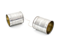Tin can phone. Two tins connected together by string to make phone Stock Image