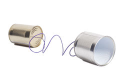 Tin can phone.communication concept Royalty Free Stock Photo