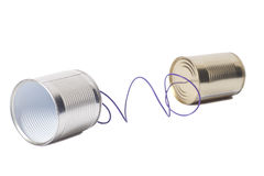 Tin can phone.communication concept Stock Image