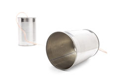 Tin can phone isolated on white background Stock Image
