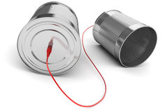 Tin can phone with red cable Stock Image