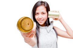 Tin can phone woman Royalty Free Stock Image