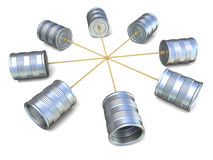 Tin can phones connected to each other. 3D render Stock Photography