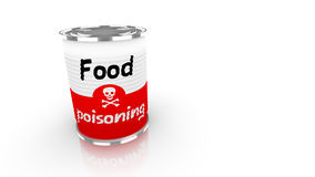 Tin can with red and white food poisioning label. Tin can with a label saying food poisioning and a skull isolated on white 3D concept illustration Royalty Free Stock Photos