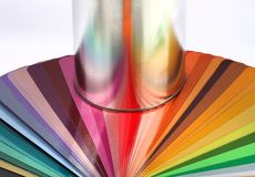 Tin can reflect colour sample chart Stock Photography