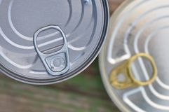 Tin can with ring pull. Top view of tin can with ring pull stock photos