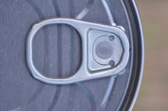 Tin can with ring pull. Top view of tin can with ring pull royalty free stock images