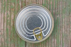 Tin can with ring pull. Top view of tin can with ring pull stock photo