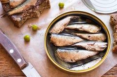 Tin can of sprats, sardines Stock Photo