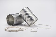 Tin Can Telefone stockfoto