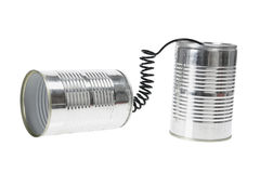 Tin Can Telephone. On White Background Royalty Free Stock Photography