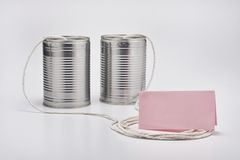 Tin Can Telephone Imagenes de archivo