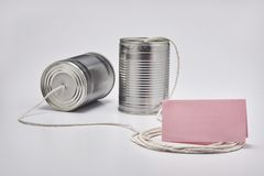 Tin Can Telephone imagens de stock royalty free