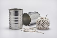 Tin Can Telephone Stock Photography
