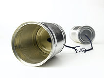 Tin Can Telephone. With cut string Royalty Free Stock Photos