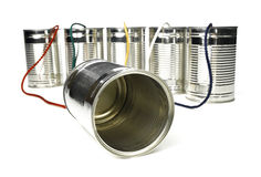 Tin Can Telephone. Exchange isolated on white Stock Photos