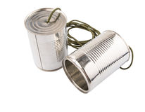 Tin Can Telephone II. Tin can telephone over white background Stock Photography