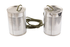 Tin Can Telephone IV. Tin can telephone over white background Royalty Free Stock Photography