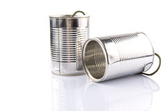 Tin Can Telephone X. Tin can telephone over white background Stock Image