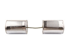 Tin Can Telephone V. Tin can telephone over white background Royalty Free Stock Photos