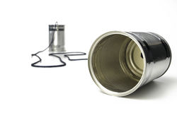 Tin Can Telephone. On a white background Royalty Free Stock Photos