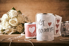 Tin can for a wedding car with hand drawn sketches Royalty Free Stock Photos