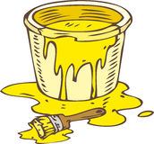 Tin Can of Yellow Paint and Paintbrush. Isolated on a White Stock Photo