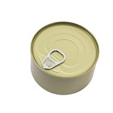 Tin can. Zealed tin can isolated on white background and clipping path Royalty Free Stock Photo