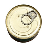 Tin with canned goods Stock Photo