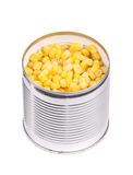 Tin with canned sweet corn. Royalty Free Stock Photos