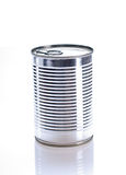 Tin of canned white background Stock Photos