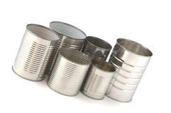 Tin cans. Empty tin cans ready for recycling isolated on white background Royalty Free Stock Photo