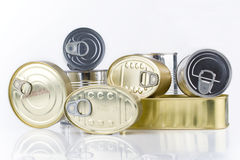 Tin cans. Several shapes and sizes of food cans Royalty Free Stock Image