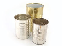 Tin cans. Three tin cans isolated over white background Royalty Free Stock Photos