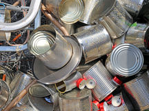 Tin cans empty in the junkyard of the EcoCentre Royalty Free Stock Image