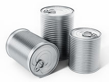 Tin cans isolated on white background. 3D illustration Stock Image
