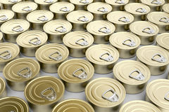Tin cans. Multiple rows with tin cans Royalty Free Stock Image
