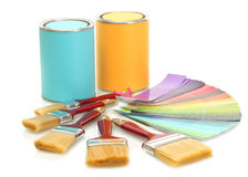 Tin cans with paint Royalty Free Stock Photo