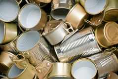 Tin cans ready for recycling. Various types of tin cans to be recycled Royalty Free Stock Image
