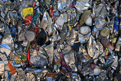 Tin cans recycling. A bale of compressed tin cans for recycling royalty free stock photography
