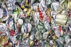 Tin Cans For Recycling esmagado Fotos de Stock Royalty Free