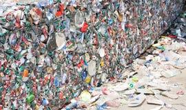 Tin Cans For Recycling machacado Imagen de archivo libre de regalías