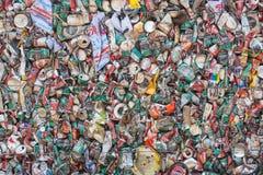Tin Cans For Recycling machacado Foto de archivo libre de regalías