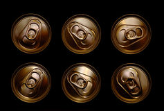 Tin cans and ring pulls. Overhead view of six gold coloured tin can tops with ring pulls Royalty Free Stock Photography